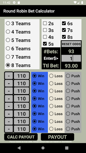 Fixed odds betting calculator round robin can you have both buy bets and place bets on the table