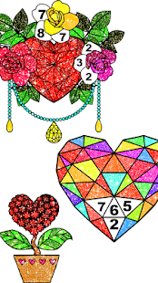 Valentines Glitter Color By Number paint love Book