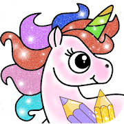Glitter Unicorn Coloring Book - Rainbow Drawing