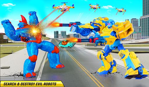 Rhino Robot Monster Truck Transform Robot Games  screenshots 11