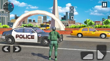 Police Car Driving in City