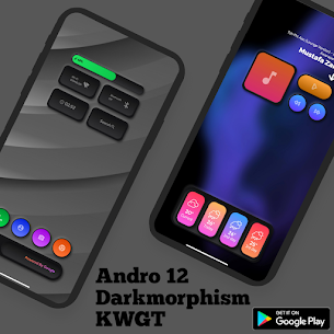 Andro 12 Darkmorphism KWGT Apk [PAID] Download 4