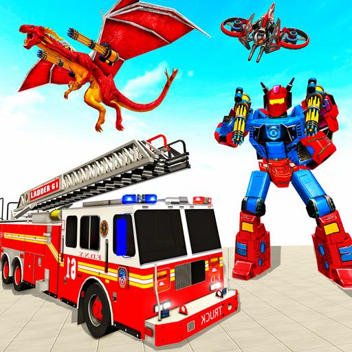 Flying Dragon Transform Firefighter Robot Games