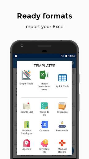 Table Notes - Pocket database & spreadsheet editor 105 Screenshots 3