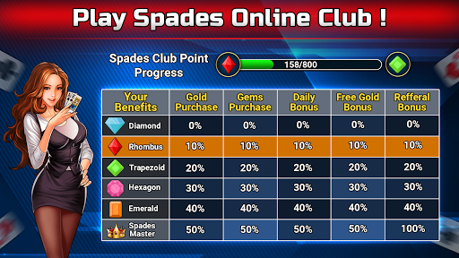 Spades Free - Multiplayer Online Card Game modavailable screenshots 8