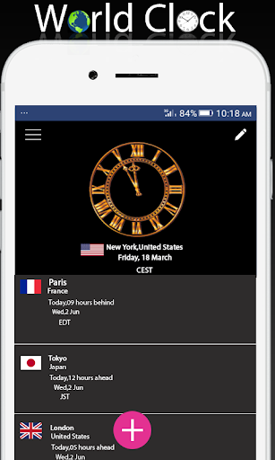 World clock widget and weather: Time of Countries  Screenshots 1