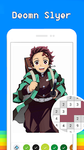 Demon Slayer Pixel Art Free Color By Number Book