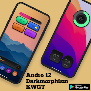 Andro 12 Darkmorphism KWGT Apk [PAID] Download 5