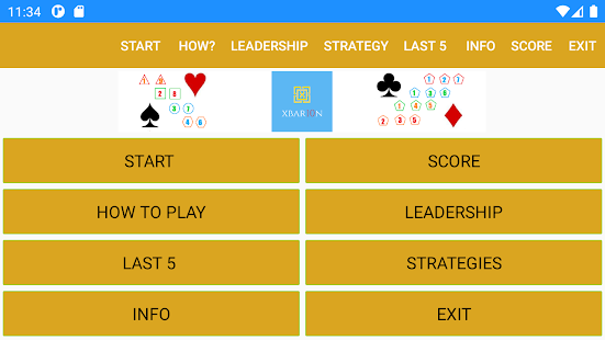 Brain Card Game - XBar10n Screenshot