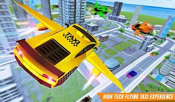 Flying Car Yellow Cab City Taxi Driving Games