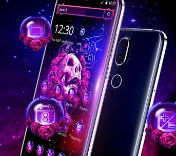 Neon Purple Rose Skull Theme 1.1.3 [Mod + APK] Android 2
