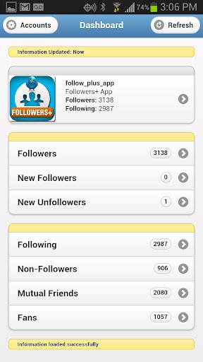 Followers+ for Twitter 1.2.0 Screenshots 1