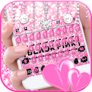Glitter Black Pink Girls Keyboard Theme
