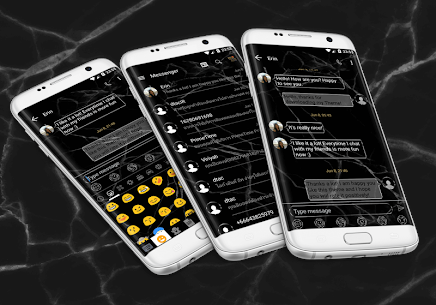 SMS Messages Marble Black Theme 10.0 Mod + Data for Android 1