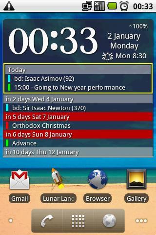clock and event widget screenshot 2