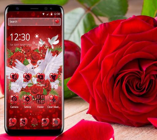 Red Rose Pigeon Heart Theme screenshots 2