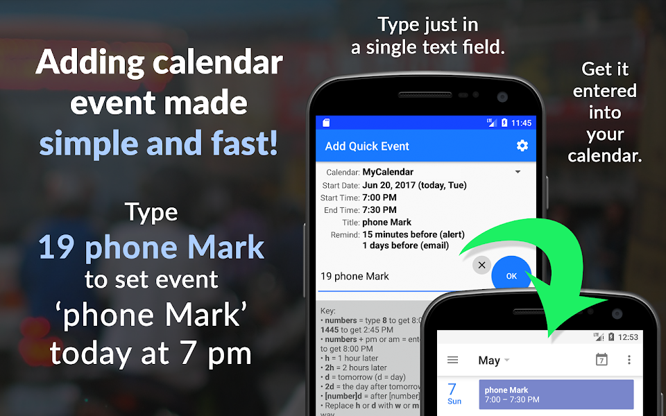 Add Quick Event - fast and easy calendar entry