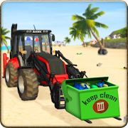Tractor Towed City Beach Cleaner Truck Driver Game