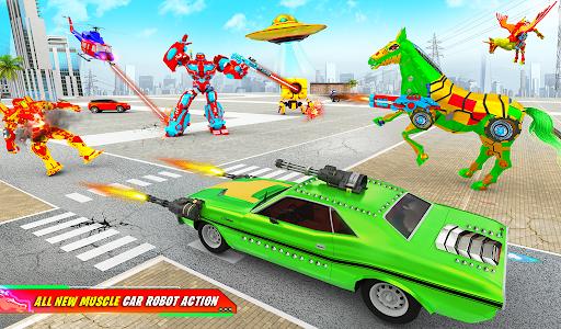 Flying Muscle Car Robot Transform Horse Robot Game apktram screenshots 6