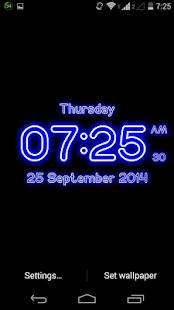 Neon Digital Clock Live Wallpaper