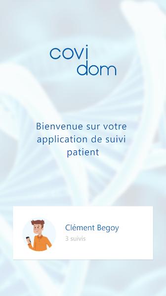 Capture d'écran application COVIDOM