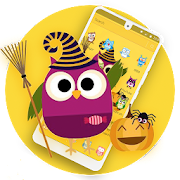 Cute Purple Owl Yellow Wallpaper Theme