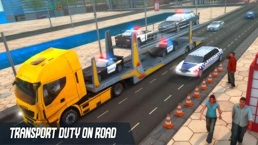 US Police Multi Level Car Transporter Truck 2021 apktram screenshots 7