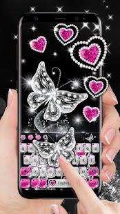 Shiny Diamond Butterfly Keyboard