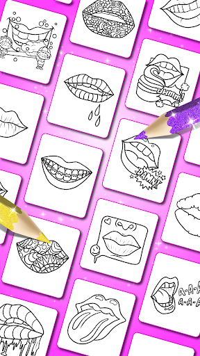 Glitter Lips with Makeup Brush Set coloring Game 2.2 APK screenshots 2