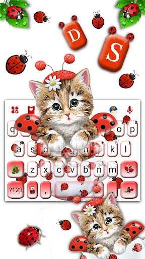 cute ladybird kitten keyboard theme screenshot 2