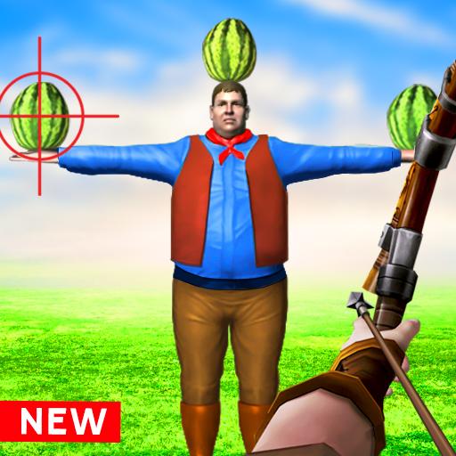 Atirador de tiro com arco melancia