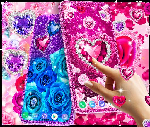 Diamond rose glitter live wallpaper apktram screenshots 1