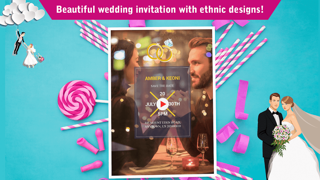 Wedding Card Design & Photo Video Maker With Music  poster 4