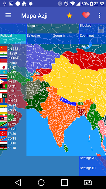 Captura de Pantalla 4 de Mapa Azji Free para android