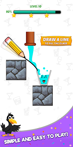 Happy Crow - Fill the Glass by Draw Lines 3.5.1 screenshots 1