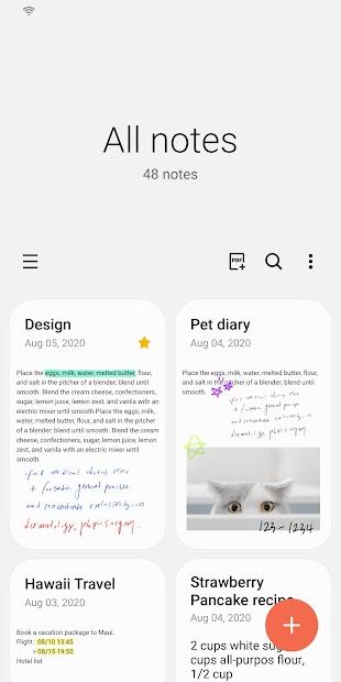 Samsung Notes Android App Screenshot