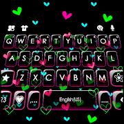 Shiny Neon Hearts Keyboard Theme