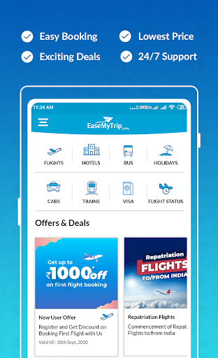 Cheap Flights, Hotel, Bus & Book IRCTC: EaseMyTrip modavailable screenshots 1
