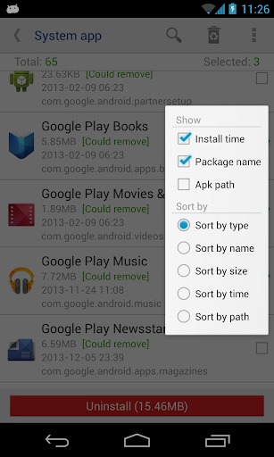 System app remover (root needed) 7.2 Screenshots 2
