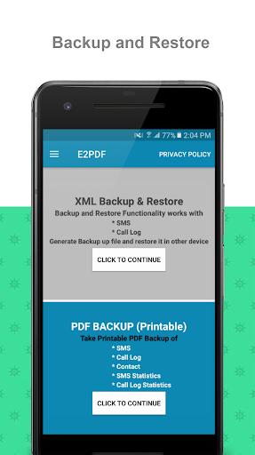 E2PDF - Backup Restore SMS,Call,Contact,TrueCaller  screenshots 1