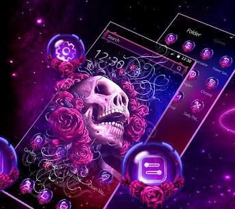 Neon Purple Rose Skull Theme 1.1.3 [Mod + APK] Android 3