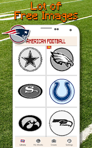 American Football Logo Color By Number - Pixel Art screenshots 2
