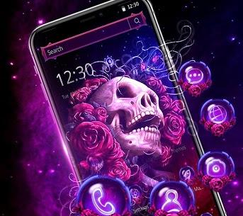 Neon Purple Rose Skull Theme 1.1.3 [Mod + APK] Android 1