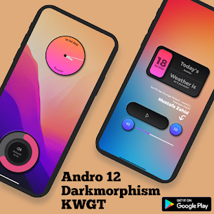 Andro 12 Darkmorphism KWGT Apk [PAID] Download 6