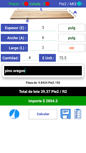 calculador madera pie tablar screenshot 3