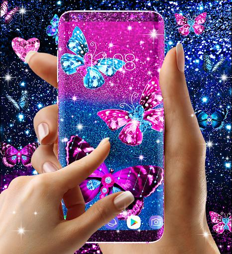 Blue glitter butterflies live wallpaper apktram screenshots 3