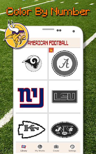 American Football Logo Color By Number - Pixel Art screenshots 3