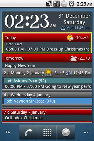 clock and event widget screenshot 1