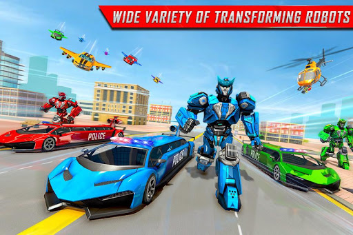 Flying Limo Robot Car Transform: Police Robot Game  screenshots 1