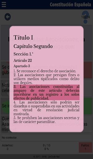 Tests oposiciu00f3n constituciu00f3n Espau00f1ola apktram screenshots 21